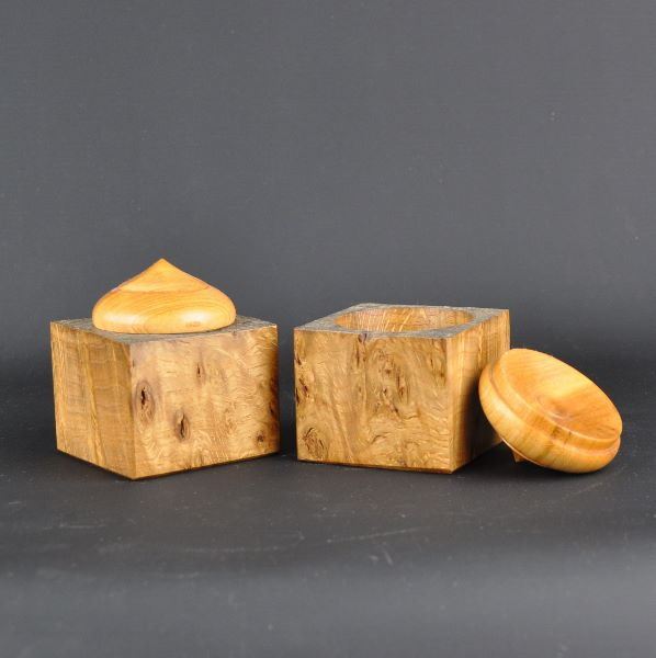 turned wooden boxes
